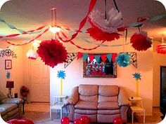 awesome home decor for cat in the hat birthday theme #dr. #Seuss #party