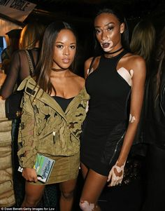 Living it up: Winnie was joined by Empire starSerayah McNeill who has jetted to the UK for LFW