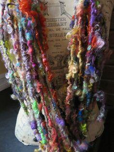 Handspun Yarn Art Yarn Lockspun Teeswater by RainbowTwistShop