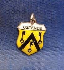Vintage 833 Silver & Enamel Travel Shield Charm OSTENDE (OSTEND, BELGIUM)