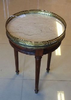 Elegant Little Round Table With Marble Top And Brass Galleryu2014just The Right  Height For