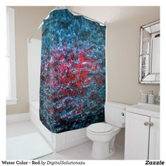 Water Color - Red Shower Curtain