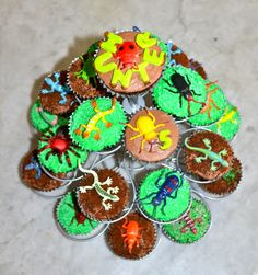 Eggless Chocolate Cupcakes with BC, Sprinkles, Crushed Cookies and Plastic Insect & Reptiles.