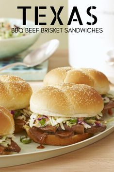 Texas Style BBQ Beef Brisket Sandwiches - perfect for your next dinner, party, picnic, potluck or ANYtime! #texas #texasrecipes #southernrecipes