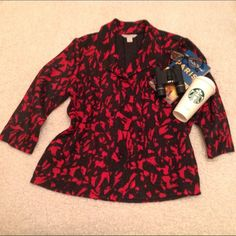 REDUCED NWT Laura Ashley black and red blazer NWT Absolutely stunning light weight black and red blazer with button closure and abstract pattern.  100% poly provides a nice bit of stretch and the pebbled fabric makes this jacket a stand out addition any wardrobe. Laura ashley Jackets & Coats Blazers