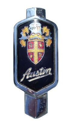 Austin Badge and mount as fitted to the early 1950s Austin A40 Van, Pick-Up and Countryman. This is a rare badge as the vehicles were only made in small numbers. I think the earlier A40 Vans had the upright grill with horizontal chrome bars. Car Badges, Car Logos, Detroit Motors, Monster Car, Radiator Cap, British Car, Car Ornaments, Badge Logo, Car Photography