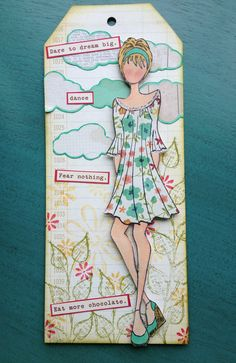 Love the dress!...Julie Nutting stamp from Prima  Prima Mixed Media Doll Stamps!