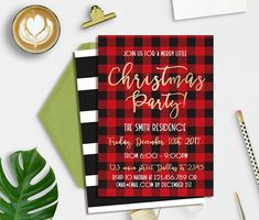 Jingle And Mingle Christmas Party Invitation Flannel Invite Gold