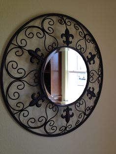 wrought iron beveled mirror  SOLD