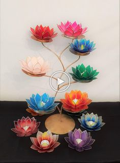 A beautiful selection of Lotus Candle Holders made from Capiz Shell. Diwali Decoration Items, Thali Decoration Ideas, Diwali Decorations At Home, Diy Crafts For Home Decor, Diy Crafts For Gifts, Paper Crafts, Diwali Diy, Diwali Craft, Nylon Flowers
