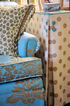 How very cool choices of fabric / colors   Greenville SC's Premier Interior Design Boutique