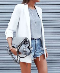 15 ripped blue denim shorts, a grey tee, a white jacket and layered necklaces - Styleoholic