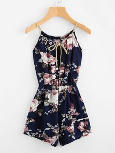 ff2c944056c Summer clothes · Floral Print Random Self Tie Cami Romper -SheIn(Sheinside)  Summer Romper, Kinds