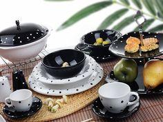 Keramika  24 Parça Yemek Takımı Anka Drops Siyah Beyaz : 88,90 TL | evmanya.com