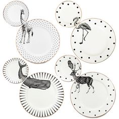 A set of 4 unique matching dinner and side plates with quirky Animal illustrations and gilt gold detailing. Created by Yvonne Ellen, this fun and fabulous plate set is perfect for impressing guests at your dinner or tea parties, and is guaranteed to get the table talking and the party started.  Sold as set of 4 (4 x dinner plates and 4 x side plates).  This striking designs also looks great displayed as wall art, bringing gallery-worthy style to your home.  All plates also have beautiful…