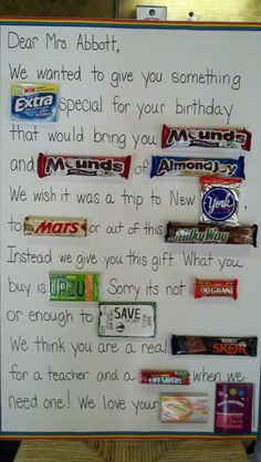 Candy Card (with gift card at the end) - too cute! Just make sure all the candy used follows our nut-free policy.