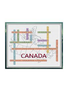 Canada Scrabble Tiles with Map Cross Stitch Pattern by StitcherzStudio on Etsy
