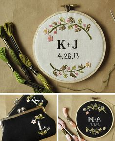Custom wedding embroidery hoops in Decoration and wedding indoor and outdoor details