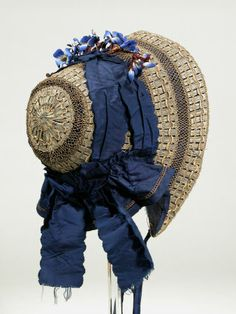 Beautiful woven bonnet with midnight blue ribbons, c. 1840-1850. #Victorian #vintage #hats #fashion
