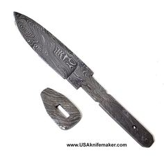 Damascus Drop Point Ladder Pattern Blade Blank