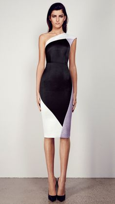 Alex Perry Autumn/Winter 2014 ALETTE - ONE SHOULDER CONTRAST PYTHON DRESS