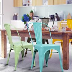 Amazon.com - 2016 NEW! Adeco Metal Stackable Industrial Chic Dining Bistro Cafe Side Chairs, Outdoor and Indoor, Green, Set of 2 - Chairs