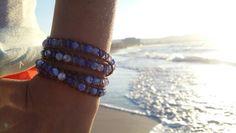 Saphire Swarovski & Agate Moorea design naturel leather handmade wrap bracelets www.mooreastore.com