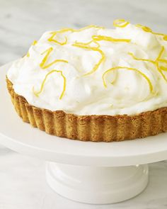 Lemon Mousse Damask Tart Recipe -- top it off with candied lemon peel