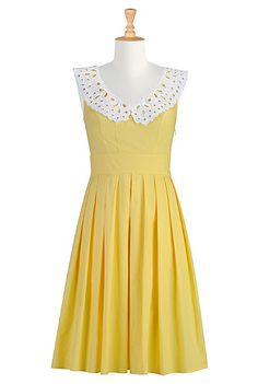 Collared yellow dress. This site has clothes you can order as is..or customize them!! Don't like the sleeves? change it.  Want the hem shorter or longer?! CHANGE IT!  Why don't all sites do this?!?!?!?!!?