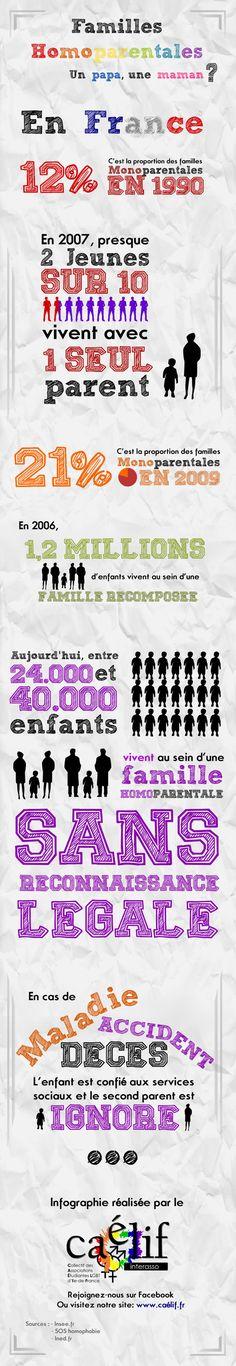 Infographie du Caélif. La famille en france, un papa, une maman?