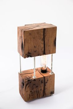 CUBE - This lamp is one of our most original and exquisite decor piece. The lamp base is made from 100 year old oak and adds a original appeal to any settings Driftwood Lamp, Wood Lamps, Lamp Design, Wood Design, Lampe Decoration, Contemporary Floor Lamps, Handmade Lamps, Old Wood, Lamp Bases