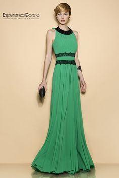 Vestidos verde jade con negro