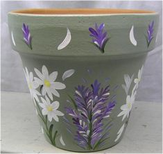 Sage Green Pot with Daisies & Lavender - - wide by high Terra Cotta Pot with sage green background and hand painted daisies and lavender flowers. Painted by Paula Horton. Flower Pot Art, Flower Pot Design, Clay Flower Pots, Terracotta Flower Pots, Flower Pot Crafts, Cactus Flower, Clay Pots, Clay Pot Projects, Clay Pot Crafts