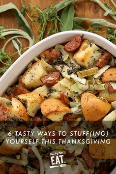 In a hypothetical showdown of Thanksgiving sides, stuffing seems to have a soft fluffy part of everyone's heart. Get some amazing and easy stuffing recipes that will wow your guests. Easy Stuffing Recipe, Gluten Free Stuffing, Stuffing Recipes, Easy Thanksgiving Recipes, Thanksgiving Sides, Holiday Recipes, Vegetarian Stuffing, Chicken Apple Sausage, Savory Herb