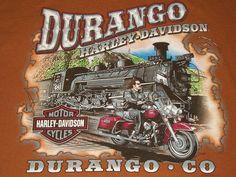 Harley Davidson Durango CO Train Engine Brown Tshirt Med T-Shirt Motorcycle M #HarleyDavidson #GraphicTee