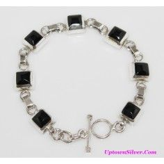 Silpada Artisan Jewelry Black Onyx Stone 925 Sterling Silver 7.5 Inch Square Link Toggle Bracelet Retired Rare
