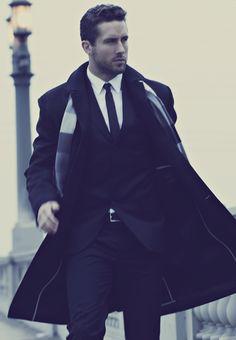 Black suit, skinny tie