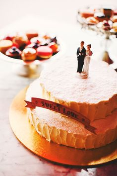 Classic Wedding Cake Topper With A Sweet Love Banner