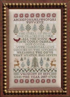 Poinsettias and Pines by Blue Ribbon Designs - Cross Stitch Kits & Patterns