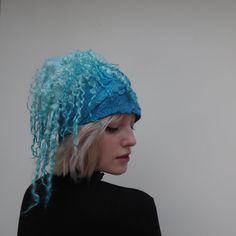 Stylish felted turquoise woolen hat
