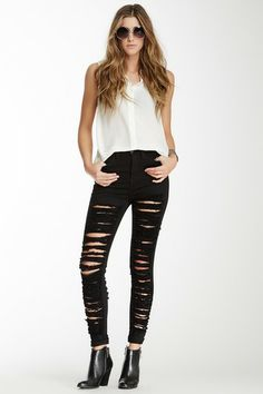 Destroyed High-Waist Skinny Jean by Sneak Peek Denim on @HauteLook