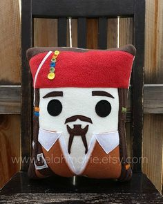 Pirate pillow, Captain Jack Sparrow, Pillow, Cushion, Plush, Johnny Depp, Pirate