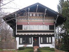 Tradicional chalet suizo con decoraciones