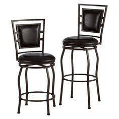 Adjustable 30 Barstool (Set of 3)Metal/Espresso (Set of 2) - Linon, Black