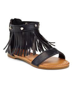 Look at this #zulilyfind! Black Studded Fringe Sandal #zulilyfinds