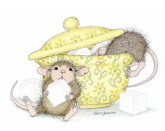 """Muzzy & Mudpie from House-Mouse Designs® featured on the The Daily Squeek® for November 22nd, 2013. Click on the image to see it on a bunch of really """"Mice"""" products."""