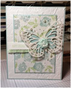 Stampin' Up! ... handmade card for Spring from A La Cards: Faux Silk background with die cut butterfly  ... pastel blue and green with a sprinkling of pearls ..  glimmer paper  and ruffled ribbon too ...