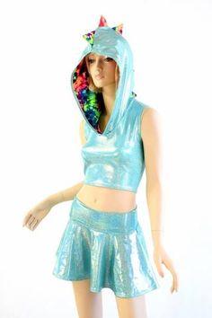 Seafoam Dragon Hoodie Set Dinosaur Dress, Dragon Hoodie, Dragon Tail, Astro Boy, Cool Hoodies, Rave Outfits, Lycra Spandex, Cropped Hoodie, Outfit