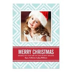 Christmas Photo Card | Red and Blue Ikat Pattern  | Visit the Zazzle Site for More: http://www.zazzle.com/?rf=238228028496470081
