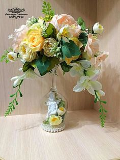 Artificial Flower Arrangements, Artificial Flowers, Wine Glass Candle Holder, Candle Holders, Wine Glass Crafts, Christmas Embroidery, Flower Boxes, Glass Design, Silk Flowers
